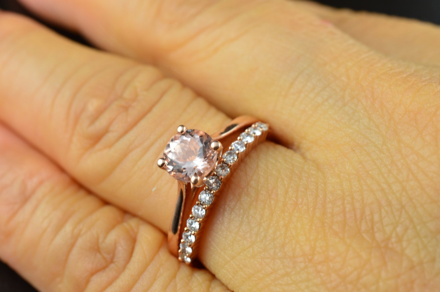 zoom - Solitaire Engagement Ring With Diamond Wedding Band