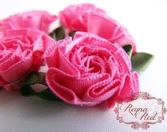 Bright Pink Peony Satin Ribbon Flowers w/Olive Accents, 5 pcs, 31mm size,  ribbon flowers, hair clip embellishment - reynaredsupplies