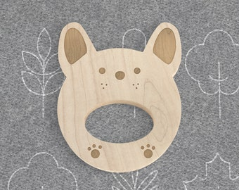 Frenchie Natural Wooden Teether