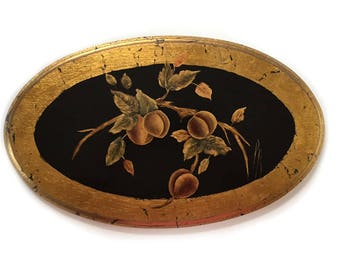 Florentine Style Oval Wood Wall Hanging Plaque Botanical Painting Wall Art