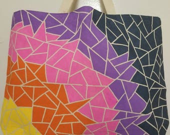 Hand painted tote - Mosaic Sunset
