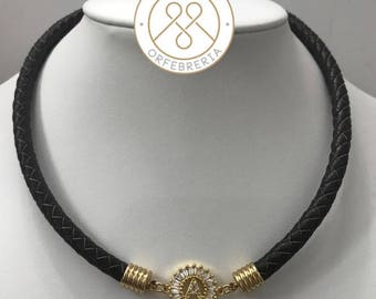 Leather necklace with Initial