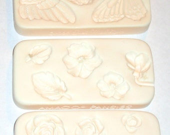 3 unused molds Judi Maddigan butterfly angel pansy roses flowers mixed media supplies