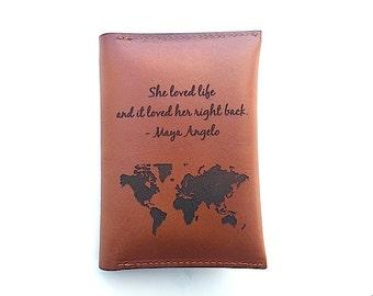 Custom Passport Holder Quote, Map Passport Cover, Best Friend Gift, Passport Sleeve, Passport Case, Ticket Holder, Travel Quote, Graduation