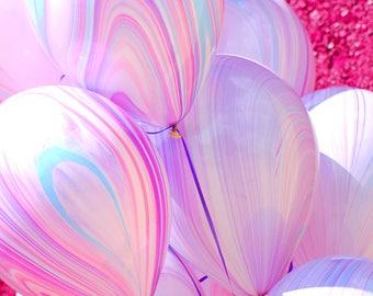 Marble Balloons - Unicorn Balloons - Mermaid Balloons - Pink and Purple Balloons - Unicorn Party Decor -  Birthday Party Balloons