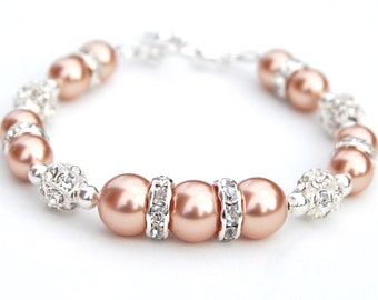 Rose Gold Pearl Bracelet, Bridesmaid Jewelry, Pearl Lover, Wedding Party, Bling Bracelet, Bridesmaid Bracelet, Bridal Gift, Wedding Jewelry