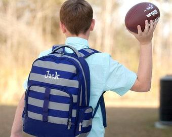 Boys Stripe Backpack - School Backpack - Blue Monogram Backpack - Preschool Backpack - Boys Monogram Backpack - Boys Monogrammed Backpack