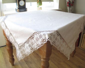 "FREE POST UK Vintage 52"" Cotton Lace Tablecloth, Crochet Lace, Vintage Lace Tablecloth, Hand-made Lace, Downton Abbey"
