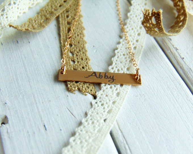 Handwritten Horizontal Bar Necklace - YOUR HANDWRITING - or text, Yellow Gold, Sterling Silver or Rose Gold - Perfect For Layering -For Her
