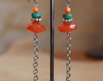Carnelian and turquoise earrings