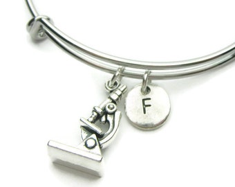 Microscope bangle, Microscope Bracelet, Science Bracelet,  Personalized Bracelet, Adjustable Bracelet, Initial Bracelet, Monogram