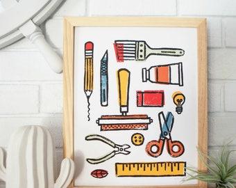 Create More - Handprinted Linocut Block Print (art print, art supplies, studio art, creativity, creative inspiration)