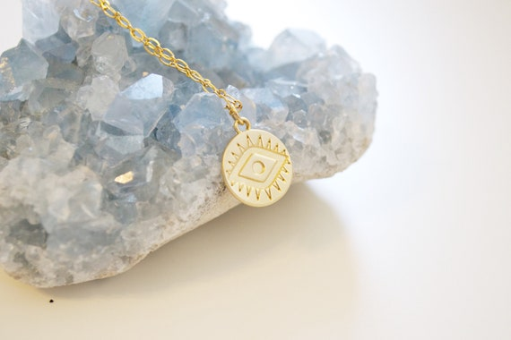 PRE-ORDER! (ships in 2 weeks) Evil Eye Coin Necklace // gold coin disc stamped evil eye delicate charm layering necklace