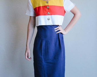 Yellow Red and Blue Striped Dress with Attached Top Piece | Sailor Dress | Long Dress | M
