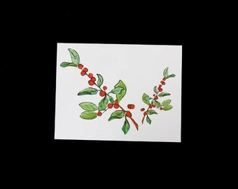 Hand painted, Holiday note card, Red berries design