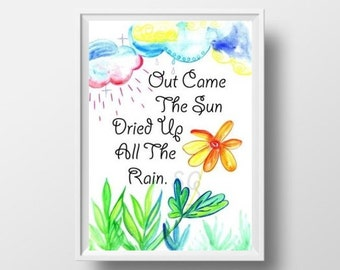 Out came the sun dried up all the rain Nursery rhyme Itsy Bitsy Spider Quote, Printable Wall Art, spring print, baby girl child room poster