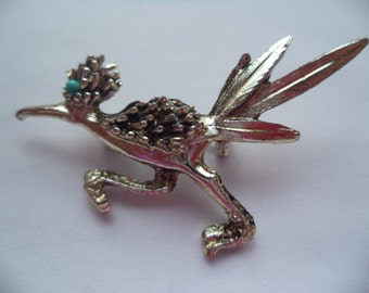Vintage Unsigned Silvertone Road Runner Brooch/Pin