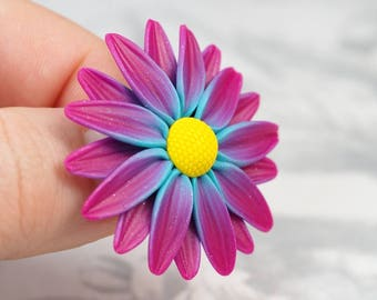 Daisy flower brooch, mothers day gift, gift for her, colorful floral jewelry, daisy brooch pin