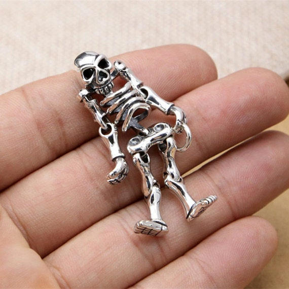 Sterling silver skeleton pendant sterling silver skull pendant 925 sterling silver skeleton pendant sterling silver skull pendant 925 silver skull charm movable skeleton pendant 134 grams la546 from sterlingsilverbox mozeypictures Image collections