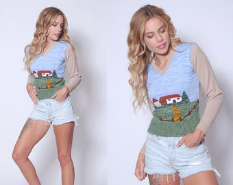 Vintage 70s NOVELTY Sweater Space Dye Sweater FARM HOUSE Print Sweater Graphic Print Pull Over