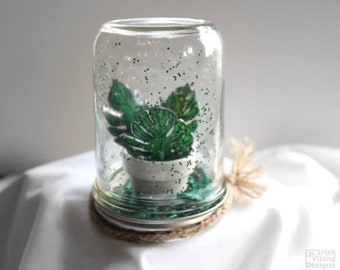 monstera leaves, houseplant, botanical home decor,faux terrarium,table centerpiece,garden in a jar,tropical leaf,mason jar globe,Mothers Day