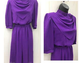 Vintage 1980s Secretary Dress Retro 80s Purple Dress Belt Included Sheer 3/4 Sleeves Elastic Waist Small