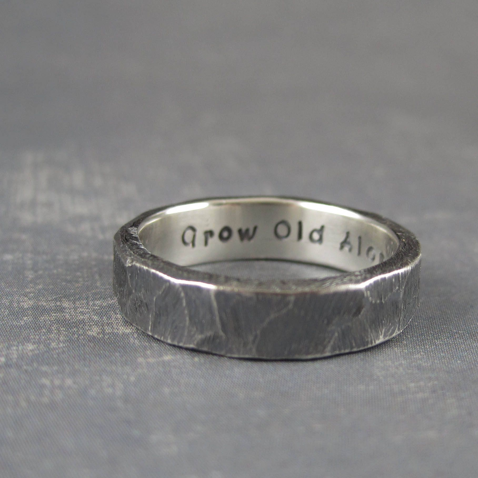 Personalised Rustic Wedding Ring Custom Engraved Rough Hewn