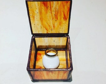 Stained Glass Ring Box, Engagement Ring Box,Light Orange translucent Ring Box,Wedding Box,