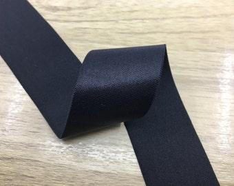 2 inch 50mm Wide Satin Black Elastic Band,Waistband Elastic,Elastic Trim by the Yard 71010