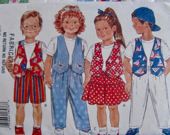 Butterick 3723, 1 Yard Clothing for Girls and Boys Vest,  Tops, Skirt and Shorts, Pants, Sewing Pattern, Childs Sizes 2, 3 , 4, Uncut