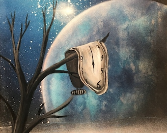 Dali art Dali painting Salvador Dali clock Persistence Of Memory Surrealism art Canvas art Original wall art Blue landscape Clock painting