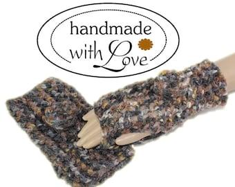 Layered look hand knitted pulse warmer gloves hand cuffs felt wool size XL