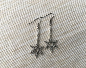 Christmas Snowflake Earrings | White and Silver