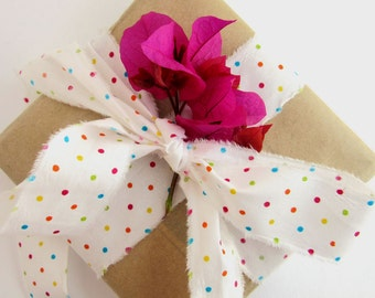 Polka Dot Cotton Craft Ribbon - Shabby Style Gift Wrap Ribbon - Fiber Craft Supplies - Spotty