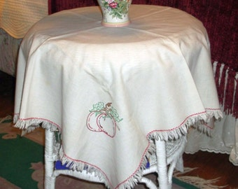 Embroidered Linen Table Cover