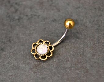 Antique Gold Belly Ring White Opal Little Belly Button Ring Little Belly Ring Short Belly Ring Belle Bohemian