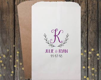 Monogram, Laurel, Wreath, Wedding Candy Bags, Wedding Favors, Candy Bags, Candy Bar Bags, Rustic Wedding, Custom Wedding Favors, Kraft 205
