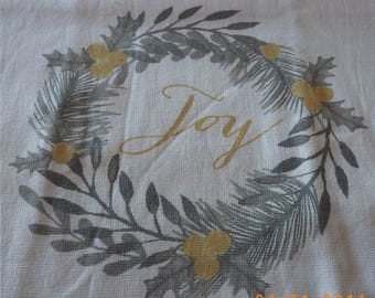 Joy Ring Hanging Kitchen Towel, custom made kitchen towel, hanger color choice, fast gift, color choice,