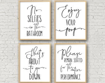 Bathroom Wall Art No Selfies In The Bathroom Enjoy Your Poop Please Remain Seated Bathroom Prints Funny Toilet Sign Funny Bathroom Signs  sc 1 st  Etsy & Bathroom wall art | Etsy