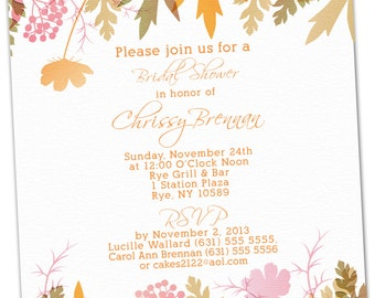 Fall Leaf Bridal Shower Invitations