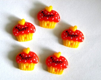 5 Red Cupcake Resin Flatbacks - Resin Cabochons