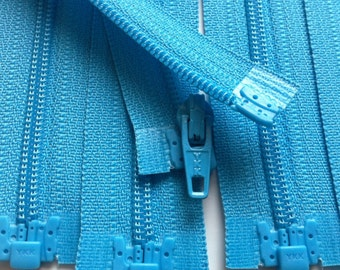 Separating Zippers- Parrot Blue 547- 5 Pieces 3mm Nylon Coil YKK - Available in sizes 6,7,8,10 and 14 Inch