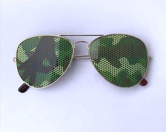 Camouflage Gotcha Game Aviator Sunglasses