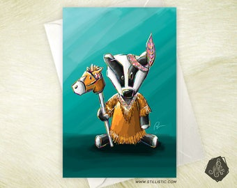 Friendship birthday baby Badger Squaw mother's Day greeting card