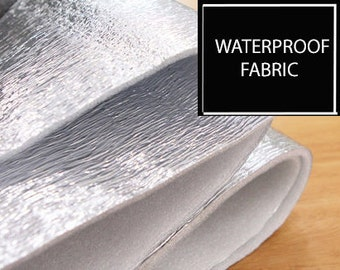 Waterproof Silver Fabric with Insulating Pad, by Yard