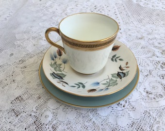 Vintage Mismatched Tea Cup Trio in Duck Egg Blue and Gold