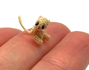 5/16 inch micro miniature crocheted kitten made from thread