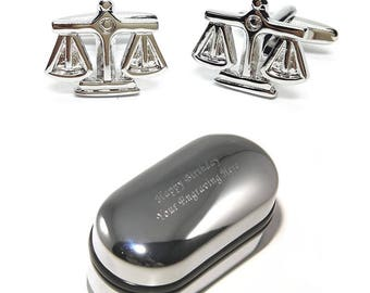 Scales of Justice Judge Cufflinks & Engraved Gift Box (X2PSN086) - Justice Cufflinks, Novelty Cufflinks, Personalised Cufflink Boxes