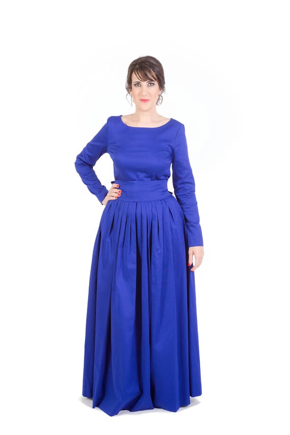 Navy blue conservative church cotton maxi dress long sleeves