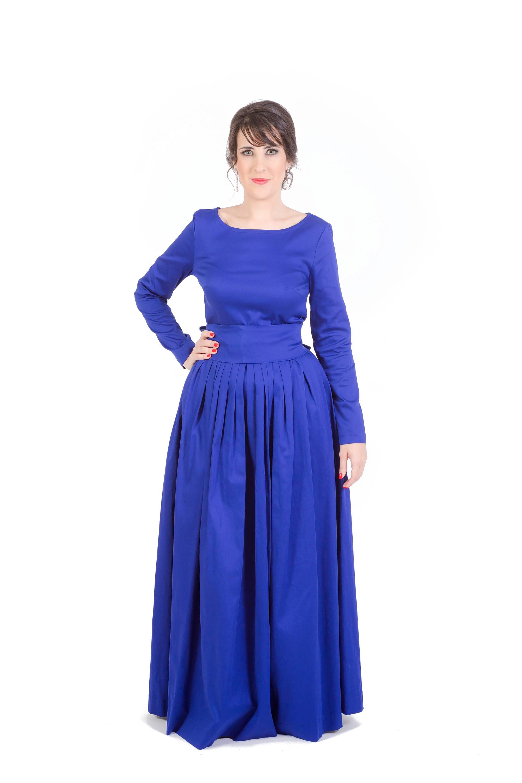 Navy blue conservative church cotton maxi dress long sleeves